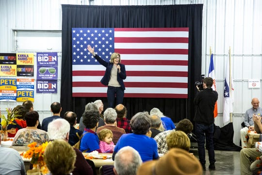 Rita Hart, candidate for Iowa's 2nd Congressional District, speaks during the Johnson County Democrats annual fall barbecue, Sunday, Oct., 13, 2019, at the Johnson County Fairgrounds in Iowa City, Iowa.