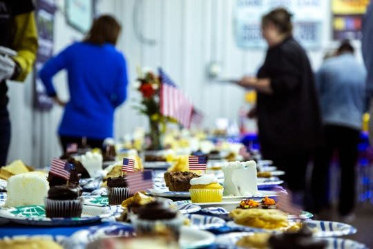 A table of desserts is pictured during the Johnson County Democrats annual fall barbecue, Sunday, Oct., 13, 2019, at the Johnson County Fairgrounds in Iowa City, Iowa.