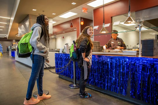 Students prepare to get their meals at Mississippi State University's Fresh Food Company dining facility Tuesday, October 9, 2019.