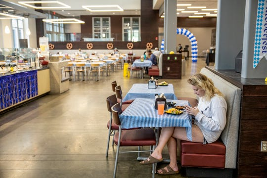 Students at Mississippi State University enjoy the meals at the campus' Fresh Food Company dining facility Tuesday, October 9, 2019.