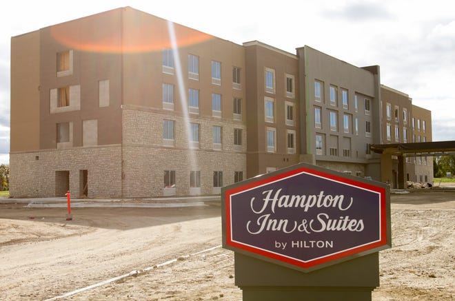 A fire broke out at the under-construction Hampton Inn & Suites hotel on Grand Oaks Dr. in Genoa Twp. Monday, Oct. 14, 2019.