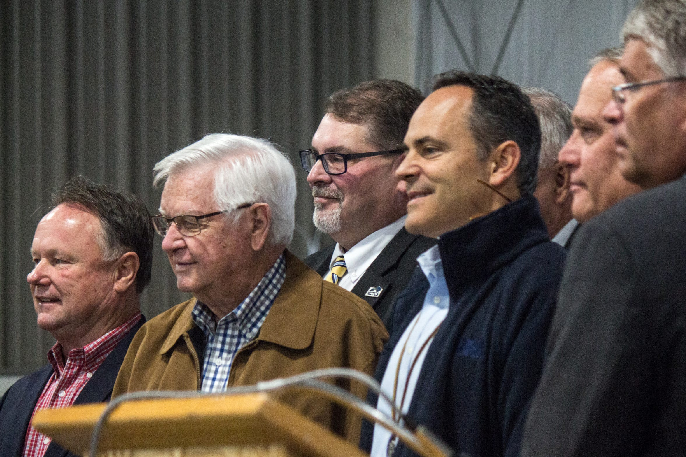 Gov. Matt Bevin (fourth from left) poses with Congressman Hal Rogers (second from left) in Barbourville. At a press conference less than a month before election day, the pair announced grant funding for a new workforce training center in Knox County.