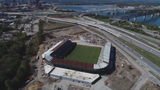 See drone footage of the work on the Louisville City FC soccer stadium. The team has played the past five years at Louisville Slugger Field.