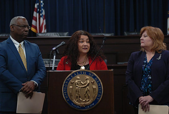 House Democratic Caucus Chairman Derrick Graham, left, Rep. Angie Hatton and House Democratic Caucus Whip Joni Jenkins unveiled state ethics and elections bills in the Capitol Annex on Monday