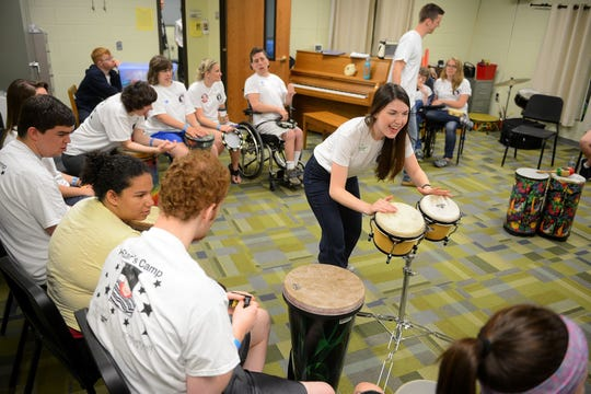 Caila Conklin leads a session during the RicStar's Music Camp on June 16, 2017 at the MSU Community Music School in East Lansing.