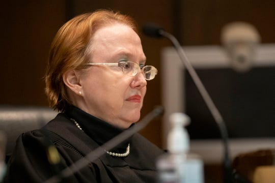 Judge Paula Skahan listens to arguments on Oct. 14 during a hearing at the Shelby County courthouse in Memphis.