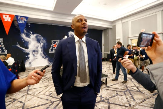 Memphis Tigers Head Coach Penny Hardaway speaks during the AAC basketball media day in Philadelphia, Pa. on Monday, Oct. 14, 2019.