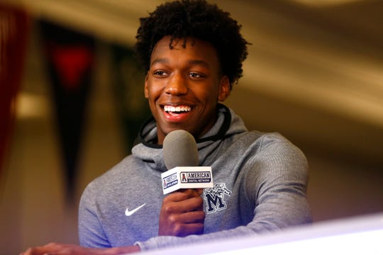 Memphis Tigers center James Wiseman is interviewed by the American Digital Network during the AAC basketball media day in Philadelphia, Pa. on Monday, Oct. 14, 2019.