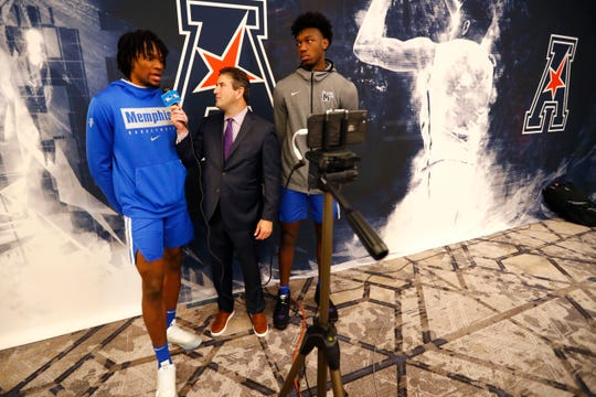 Tigers center James Wiseman and forward Precious Achiuwa are interviewed by Andy Katz on Monday at the AAC basketball media day in Philadelphia.