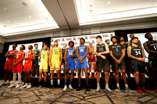 Memphis Tigers center James Wiseman and forward Precious Achiuwa  join other conference players for a photo during the AAC basketball media day in Philadelphia, Pa. on Monday, Oct. 14, 2019.