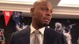 Memphis basketball coach Penny Hardaway speaks to reporters at AAC media day Monday in Philadelphia.
