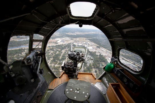 The view from the nose of a B-17 Flying Fortress on Monday, Oct. 14, 2019, at the Olive Branch airport in Miss.