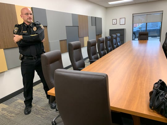 Muskego Police Chief Richard Rens stands inside the new police station's largest rooms, a conference room. While standard, the conference room far exceeds the space available at the old facility located just to the north.