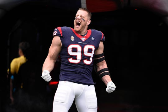 Houston Texans defensive end J.J. Watt was a dominating force for the Houston Texans throughout the 2010s. He was named the NFL's Defensive Player of the Year three times.