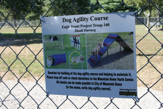 After talking to Mountain Home Parks and Recreation Director Billy D. Austin, Boy Scout Shadd Darracq of Troop 340 opted to stake the newly installed dog agility equipment so it could be removed by city workers when mowing.The agility course as part of his Eagle Scout Project and residents can make donations to the park to ensure it is maintained.