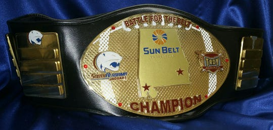 "South Alabama and Troy annually play a rivalry game christened the ""Battle for the Belt."""