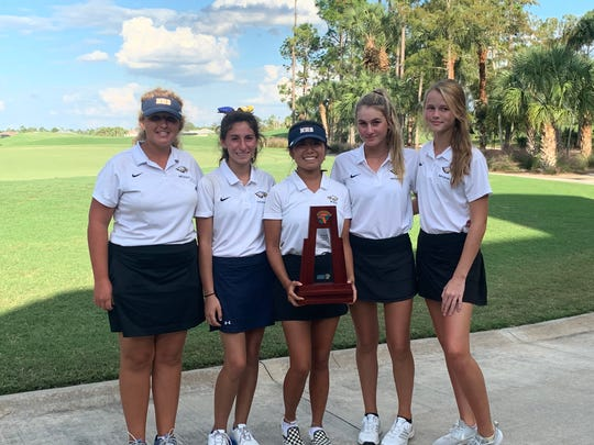 The Naples High School girls golf team won the Class 2A-District 12 title on Monday, Oct. 14, 2019 at Golf Club of the Everglades.