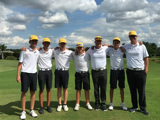 Bishop Verot's boys golf team shot a season-best 301 led by freshman Kevin Kelly's 73 to take second at the District 1A-11 Championship at the Club at Renaissance on Monday.