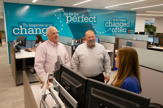 Vincent J. Hager, president, and Kenneth L. Hager, principal and C.O.O., work with Lisa Procaccio, commercial lines service manager, at JGS Insurance, located inside Bell Works, in Holmdel, NJ Monday, October 14, 2019.