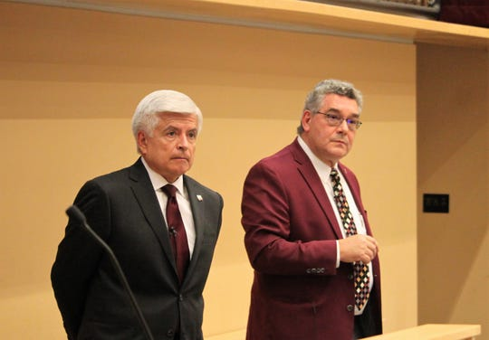 "From left, New Mexico State University Chancellor Dan Arvizu and President John Floros listen to a question following their ""State of the University"" address at Domenici Hall on the main campus in Las Cruces, Monday, Oct. 14, 2019."
