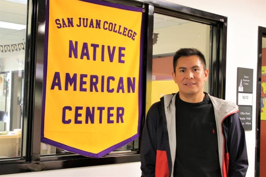 Byron Tsabetsaye, director of San Juan College's Native American Center at the college's Indigenous Peoples Day celebration on Oct. 14 2019.