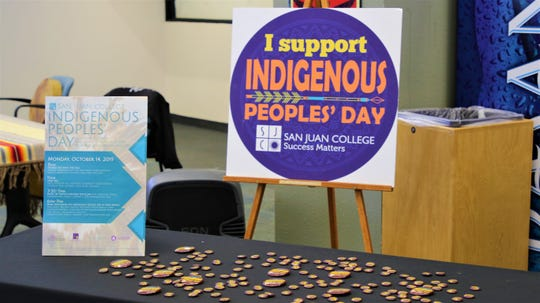 A sign for Indigenous Peoples Day welcomes students and community members at San Juan College on Oct. 14 2019.