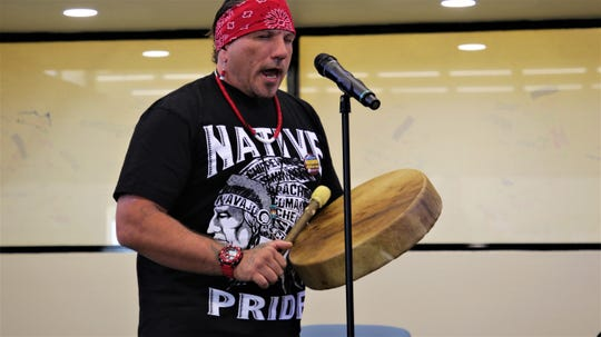 James Soos sings a traditional song at San Juan College's Indigenous Peoples Day celebration on Oct. 14 2019.