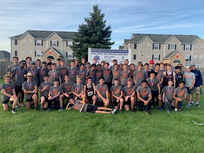 The Northville boys cross country team after recording a perfect game at the Bob Brown Invite.