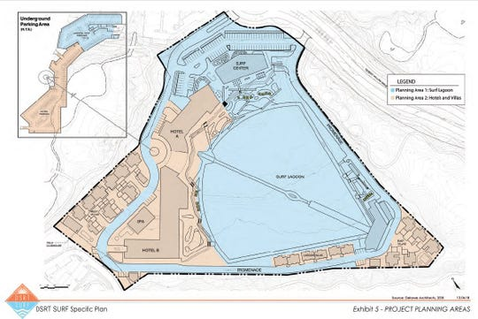 This map by Desert Wave LLC outlines the plans for a surf resort at Desert Willow in Palm Desert.