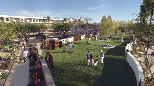 Living Out will include an on-site dog park plus a commercial space for grooming, supplies, and pet hotel services.