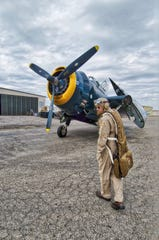 Ron Carlson stands before his Grumman TBM Avenger on April 15, 2018, at Stockton Metropolitan Airport in Stockton, California.