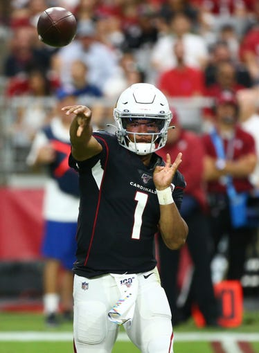 Arizona Cardinals quarterback Kyler Murray (1) throws a pass against the Atlanta Falcons in the second half during a game on Oct. 13, 2019 in Glendale, Ariz.
