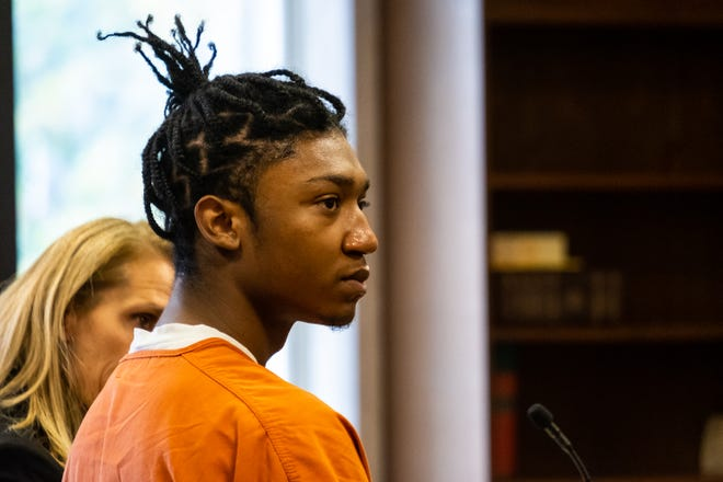 Khalil Allen listens to questioning during a hearing in St. Clair County Circuit Judge Cynthia Lane's courtroom Monday, Oct. 14, 2019. Allen is one of four teens being charged in relation to a robbery at Kay Jewelers in Fort Gratiot in July.