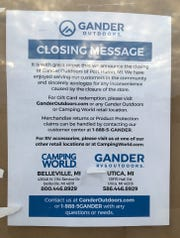 Signs were posted on the doors at Gander Outdoors announcing the store's closure at 4055 24th Ave. in Fort Gratiot on Oct. 14, 2019.