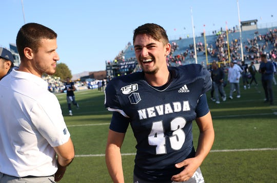 Nevada kicker Brandon Talton (43) celebrates after kicking the game winning field goal while taking on San Jose State during their football game at Mackay Stadium in Reno on Oct. 12, 2019.