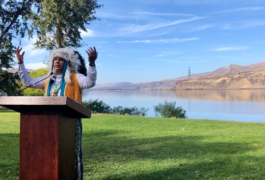 JoDe Goudy, chairman of the Yakama Nation, speaks with the Columbia River in the background near The Dalles, Oregon, Oct. 14, 2019, where Celilo Falls, an ancient salmon fishing site was destroyed by the construction of the Dalles Dam in the 1950s.