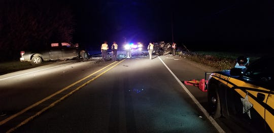 A fatal head-on crash closes Highway 18 on Sunday, Oct. 13, 2019.