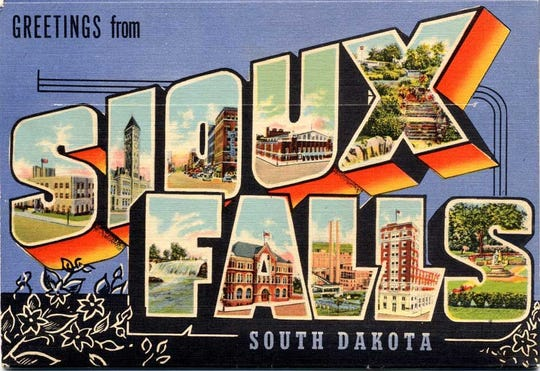 """Greetings from Sioux Falls"" postcard"
