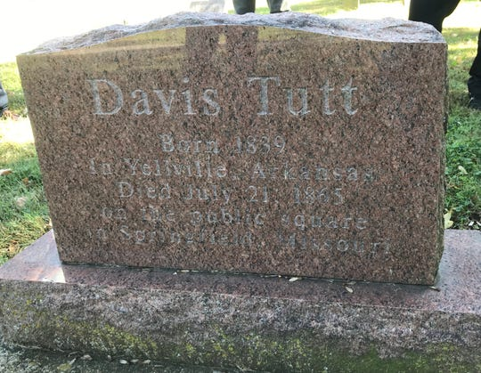 Also buried in Maple Park Cemetery is Davis Tutt, the man shot and killed by Wild Bill Hickok on the downtown square  in Springfield. The gunfight was on July 21, 1865.