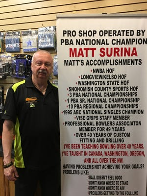 Mesquite area bowler Matt Surina is pictured inside the pro shop at the Virgin River Bowling Center.