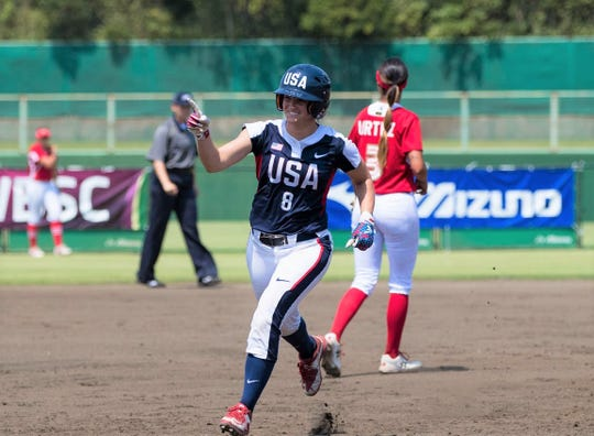 Haylie McCleney rounds the bases after hitting a home run. The FAMU assistant strength and conditioning coach will compete on the national softball team during the 2020 Summer Olympics.