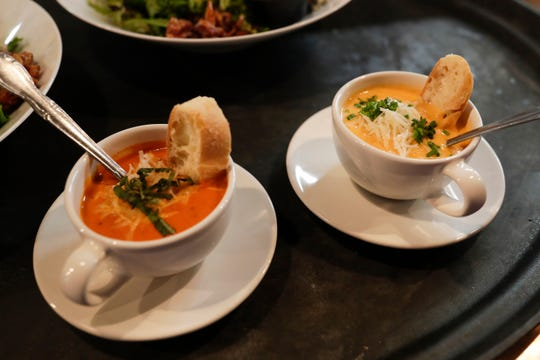 The menu at Jeri's Midtown Cafe includes a tomato bisque, left and lobster bisque.