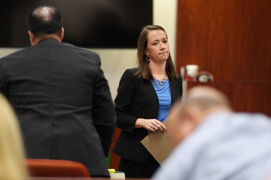 Assistant Public Defender Dorothy Naumann is part of the defense team for Michael Jones, accused of killing girlfriend Diana Due in June 2014. State prosecutors and defense lawyers made their opening statements in the case on Monday, Oct. 14, 2019, at the Indian River County Courthouse in Vero Bech.