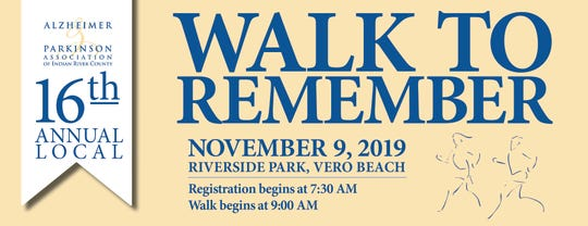 The 2019 Walk to Remember is Nov. 9 at Riverside Park in Vero Beach, benefiting the Alzheimer & Parkinson Association of Indian River County.