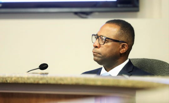 City Rep. Sam Morgan made his first appearance with the El Paso City Council on Monday, Oct. 14, 2019, after being arrested after being accused of striking his wife on Oct. 4.