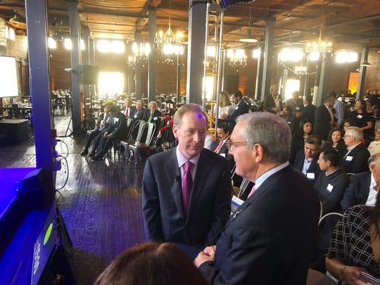Microsoft President Brad Smith with El Paso Mayor Dee Margo at Microsoft economic development announcement for ElPasoand Juarez.