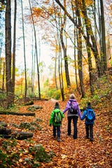 Mother with sons hiking in an autumn forest.