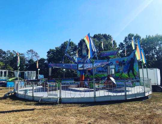The ride 'Xtreme' is pictured Monday at the site of the Deerfield Township Harvest Festival in Rosenhayn. A 10-year-old girl was killed during an accident on this ride at the festival Saturday night, according to authorities.
