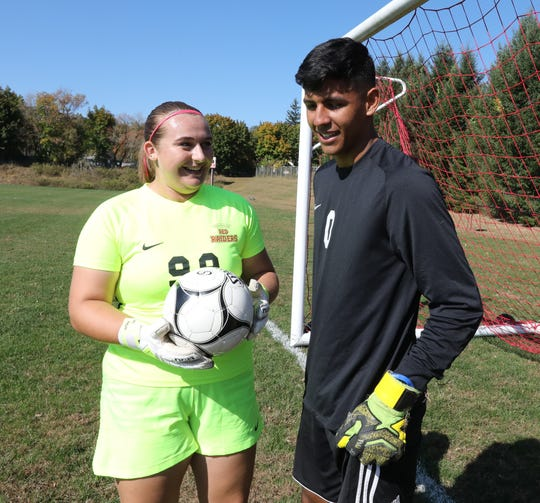 North Rockland soccer goalies Allie Spong and Angel Rodriguez Oct. 14, 2019.