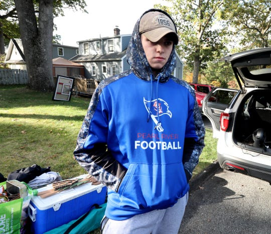 Joe Parisi, a Pearl River High School senior, and a member of the varsity football team, spoke about his friend and teammate Altin Nezaj outside his home Oct.14, 2019. Nezaj was one of two people who died in a fiery crash in Pearl River Sunday afternoon.